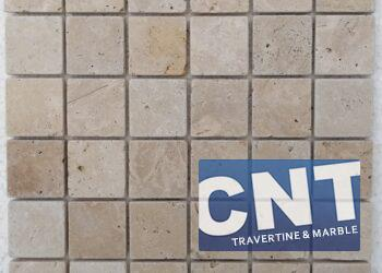 4.8x4.8x1cm Cls Light Tumbled Travertine Mosaic
